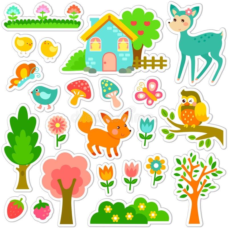 Conception d'autocollants de forêt illustration stock