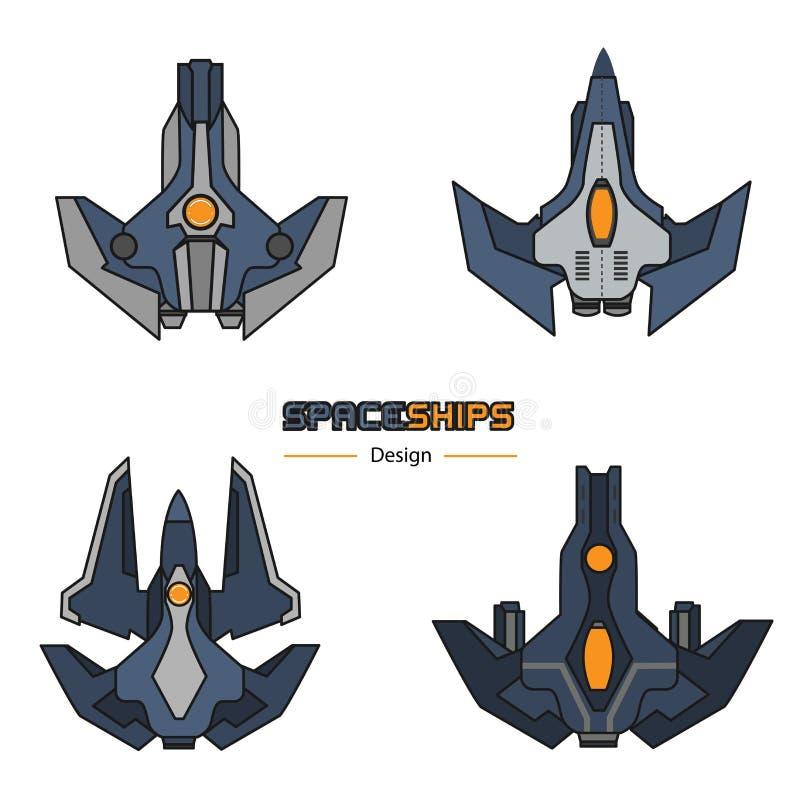 Conception d'avions de vaisseaux spatiaux illustration de vecteur
