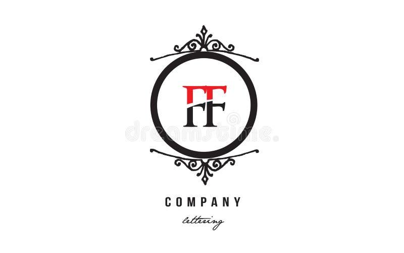 Conception d?corative noire blanche rouge d'ic?ne de combinaison de logo de lettre d'alphabet de monogramme de FF F F illustration libre de droits