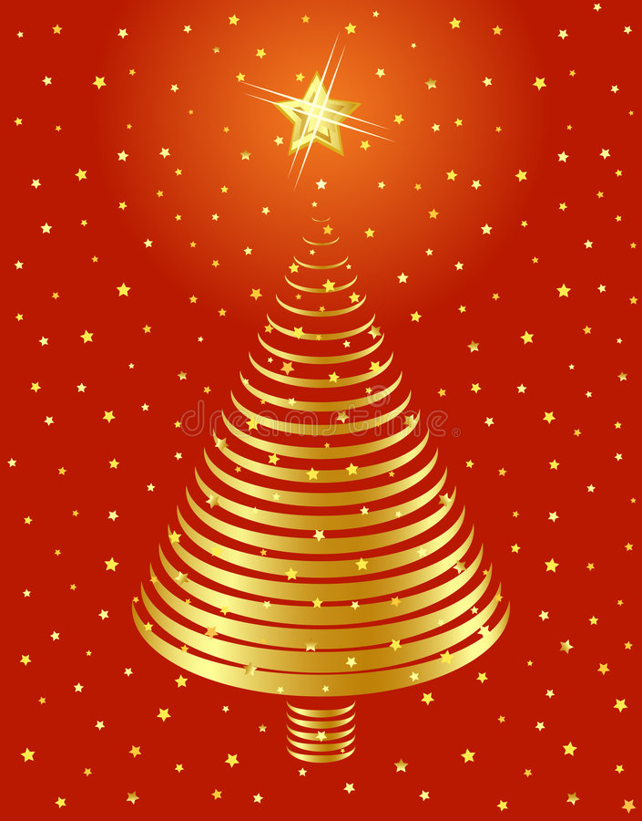 Conception d'or d'arbre de Noël. illustration de vecteur
