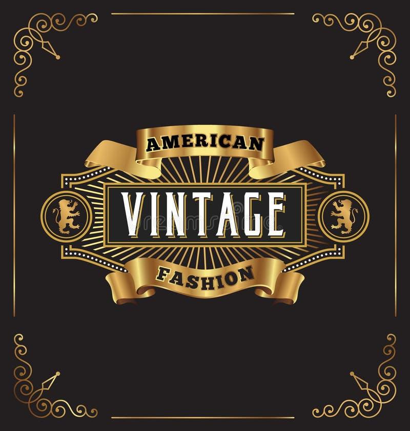 Conception d'or de la meilleure qualité de label de cadre de vintage illustration stock