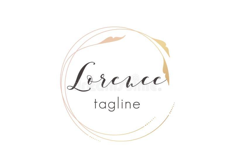 Conception d'or de logo de Premade avec la conception florale minimalistic Calibre féminin de logotype dans le style artistique é illustration stock
