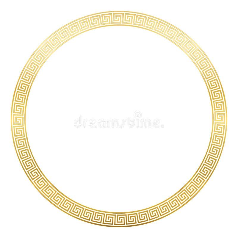 Conception d'or de méandre de cadre rond antique de modèle illustration de vecteur