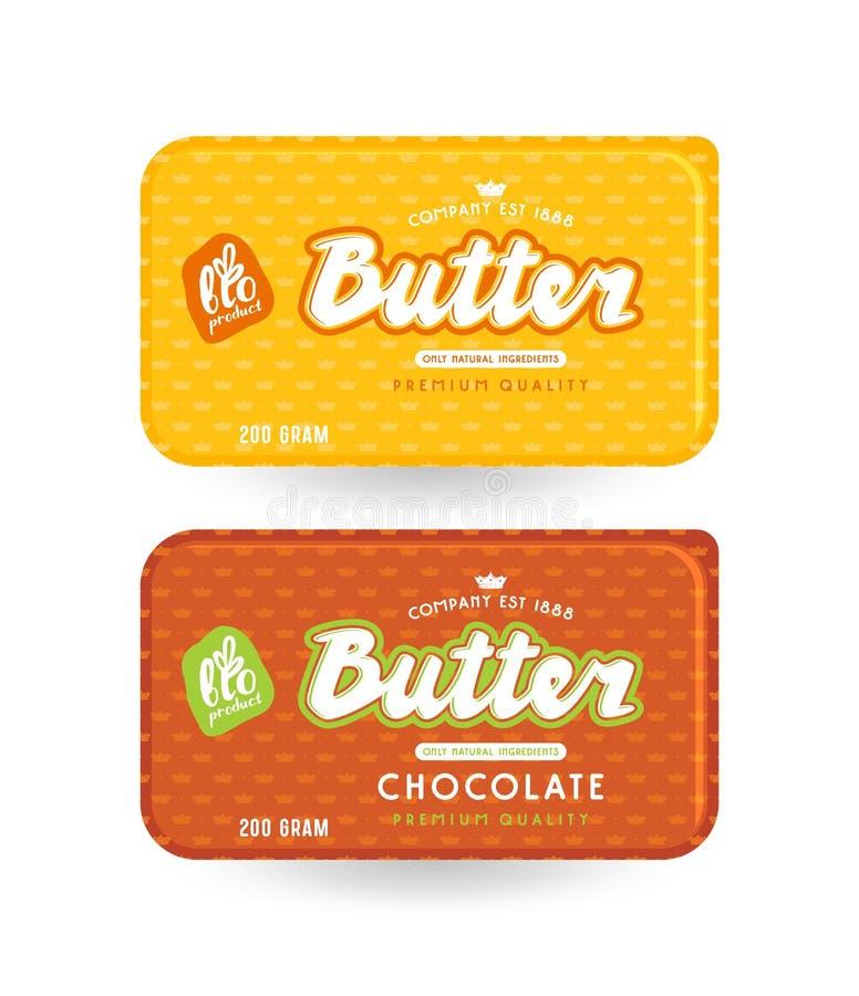 Conception d'emballage courante de vecteur pour le beurre illustration de vecteur