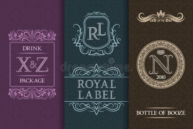 Conception d'emballage de boisson Ensemble de labels de bouteilles de boissons alcoolisées illustration libre de droits