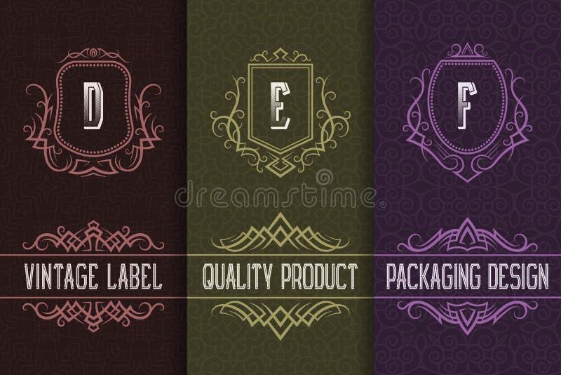 Conception d'emballage de cru avec des logos de monogrammes Placez des calibres de labels pour le produit de qualité illustration libre de droits