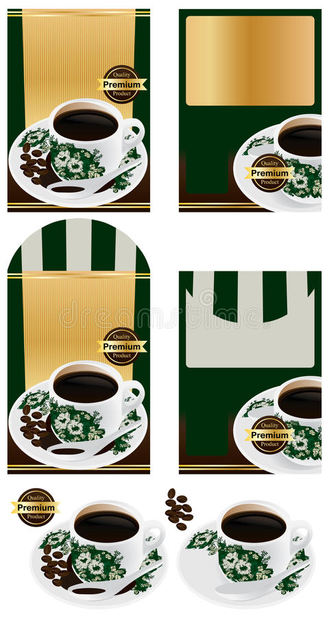 Conception d'emballage de grain de café de Nanyang illustration stock