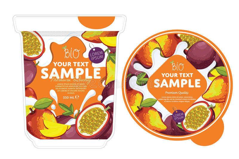 Conception d'emballage de yaourt de mangue de passiflore comestible de passiflore illustration stock