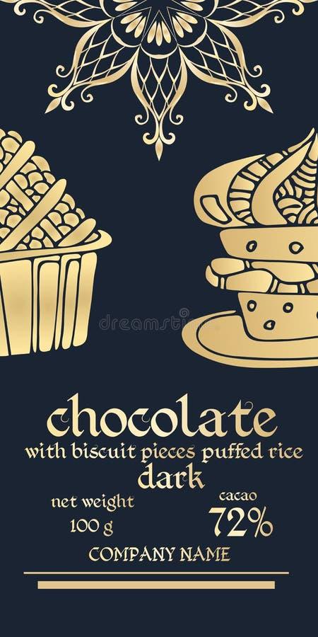 Conception d'empaquetage d'or de la meilleure qualité des barres de chocolat Moitié de flocon de neige ou de mandala - riz de fle illustration libre de droits
