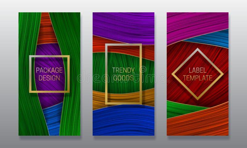 Conception d'empaquetage de luxe Placez des calibres colorés de labels pour les marchandises à la mode illustration de vecteur