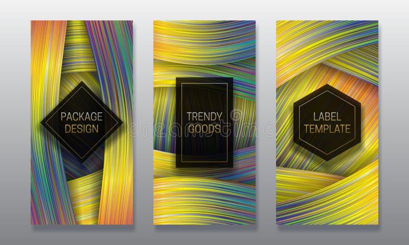 Conception d'empaquetage de luxe Placez des calibres colorés de labels pour les marchandises à la mode Milieux olographes avec le illustration de vecteur