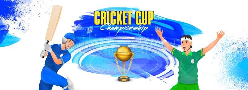 Conception d'en-tête ou de bannière de championnat de tasse de cricket, joueur de cricket dans l'action de jeu différente illustration de vecteur