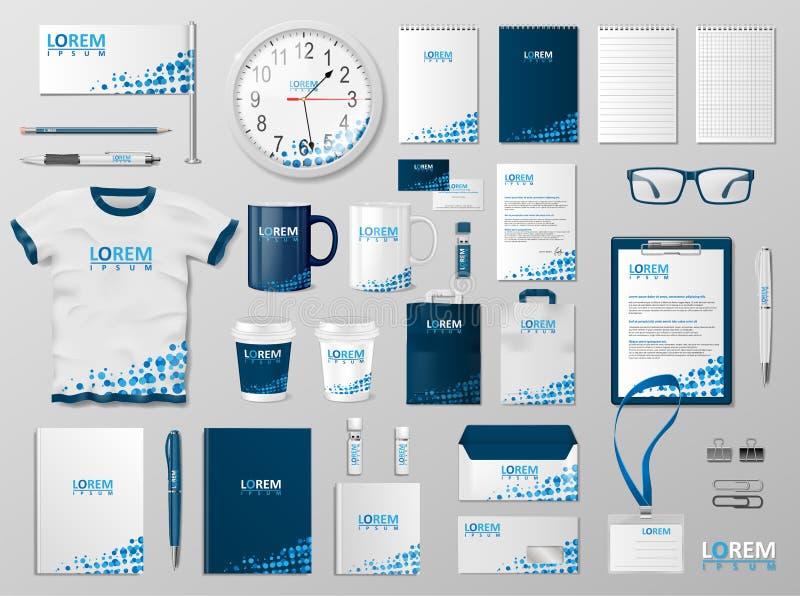 Conception d'entreprise de calibre d'identité de marquage à chaud Couleur moderne de bleu de maquette de papeterie Papeterie de s illustration de vecteur