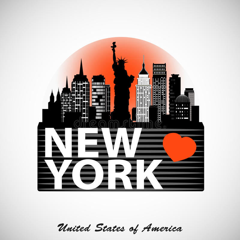 Conception d'horizon de New York City de nuit Silhouette détaillée de ville illustration de vecteur