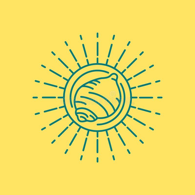 Conception d'icône de coquille de mer de plage d'été dans schéma illustration stock