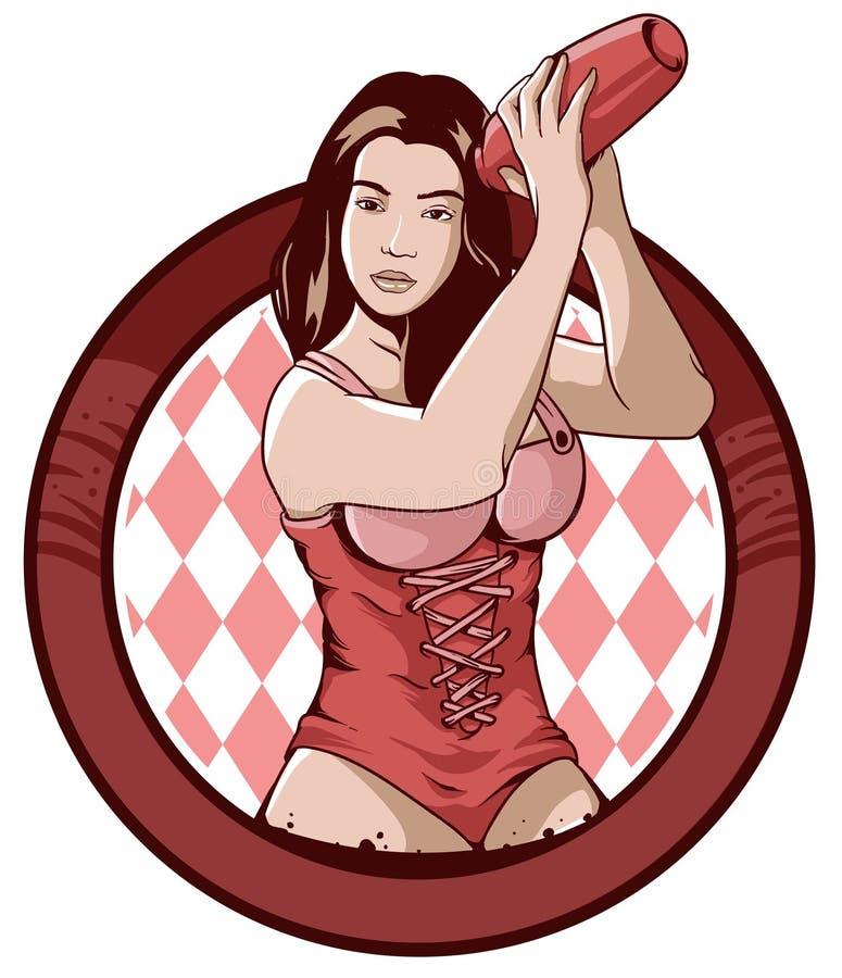 Conception d'icône de femme de barman illustration stock