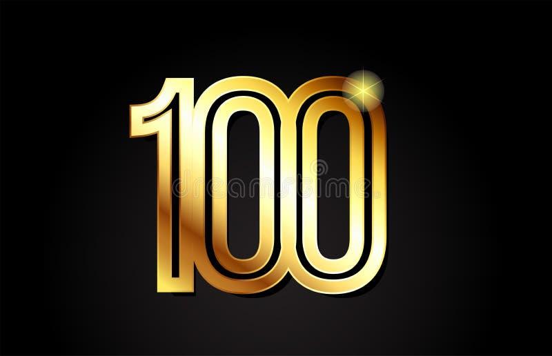 conception d'icône de logo du numéro 100 d'or illustration stock