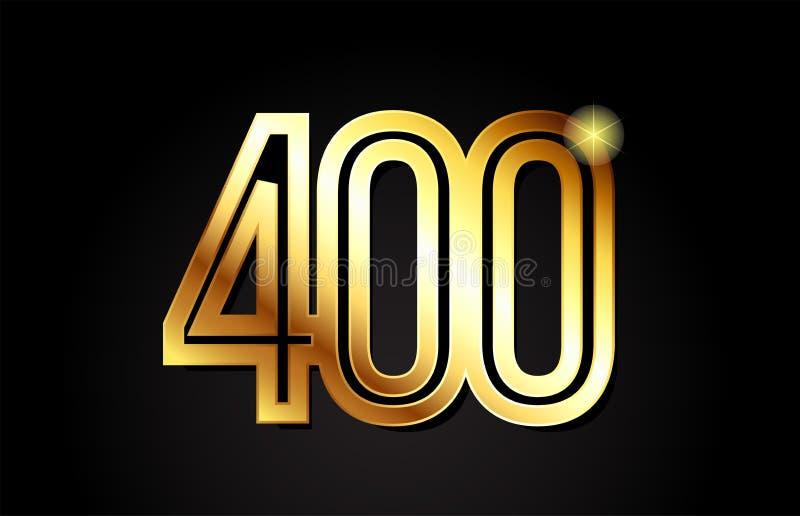 conception d'icône de logo du numéro 400 d'or illustration stock