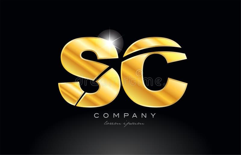conception d'or d'icône de logo en métal d'alphabet d'or de Sc s c de lettre de combinaison illustration de vecteur