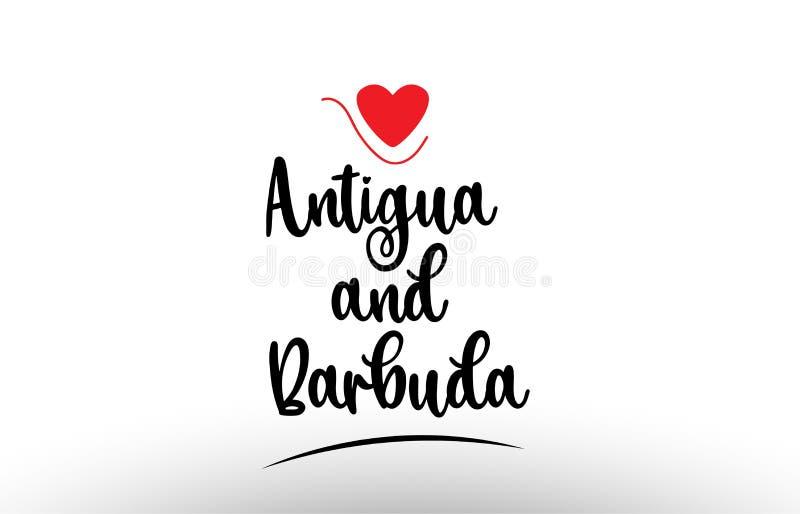 Conception d'icône de logo de typographie des textes de pays de l'Antigua-et-Barbuda illustration de vecteur