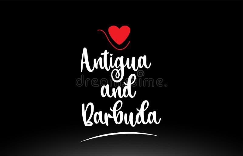 Conception d'icône de logo de typographie des textes de pays de l'Antigua-et-Barbuda sur le fond noir illustration de vecteur
