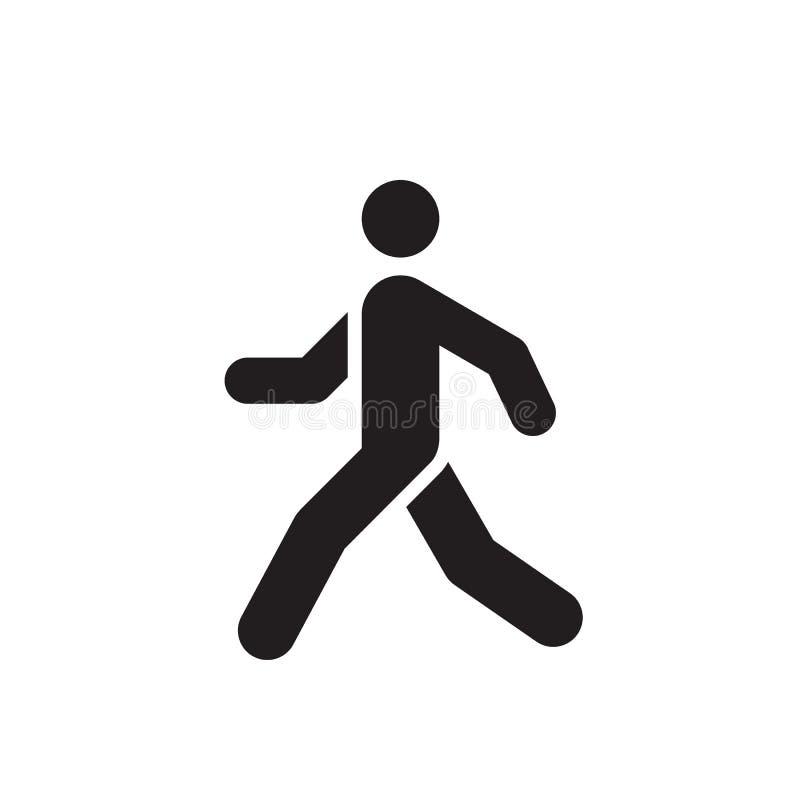 Conception d'icône de noir d'homme de promenade Signe humain couru de concept Illustration de vecteur photos libres de droits