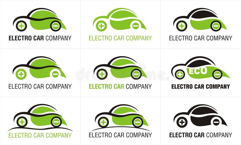 Conception d'icônes d'Eco neuf de voiture électrique d'isolement illustration libre de droits