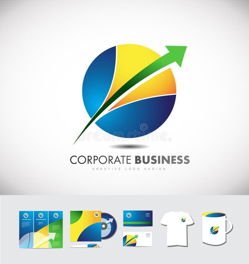 Conception d'icône de logo d'entreprise constituée en société de flèche de sphère de cercle illustration libre de droits