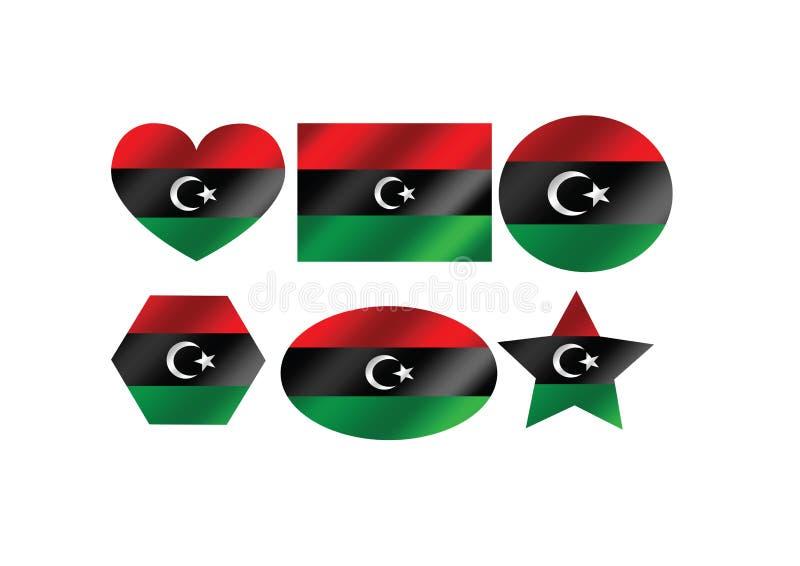 Conception d'idée de thèmes de drapeau de la Libye illustration stock
