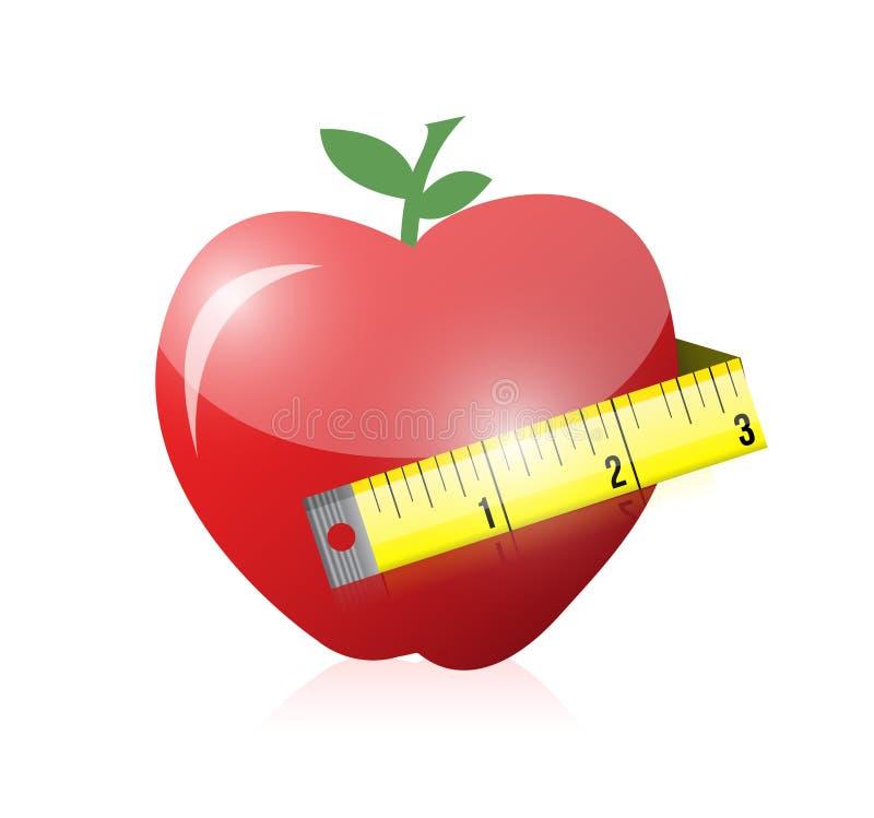 Conception d'illustration d'Apple et de bande de mesure illustration de vecteur