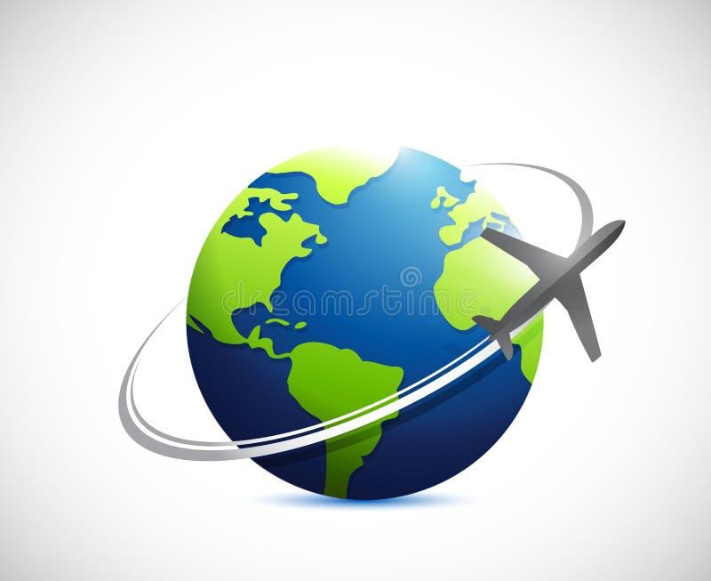 Conception d'illustration d'itinéraire de globe et d'avion illustration stock