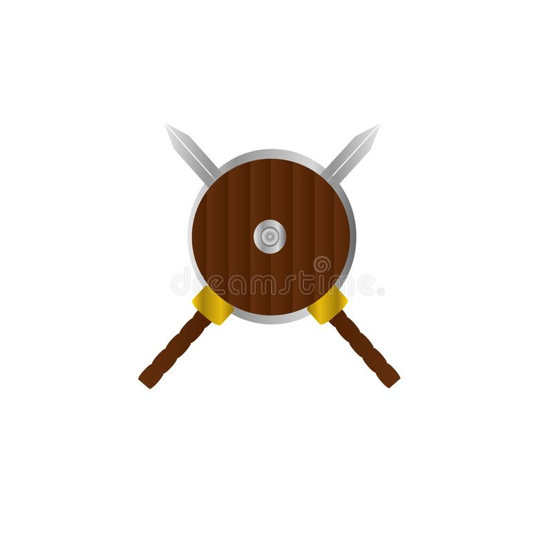 Conception d'illustration de bannière de logo d'épée et de bouclier illustration de vecteur