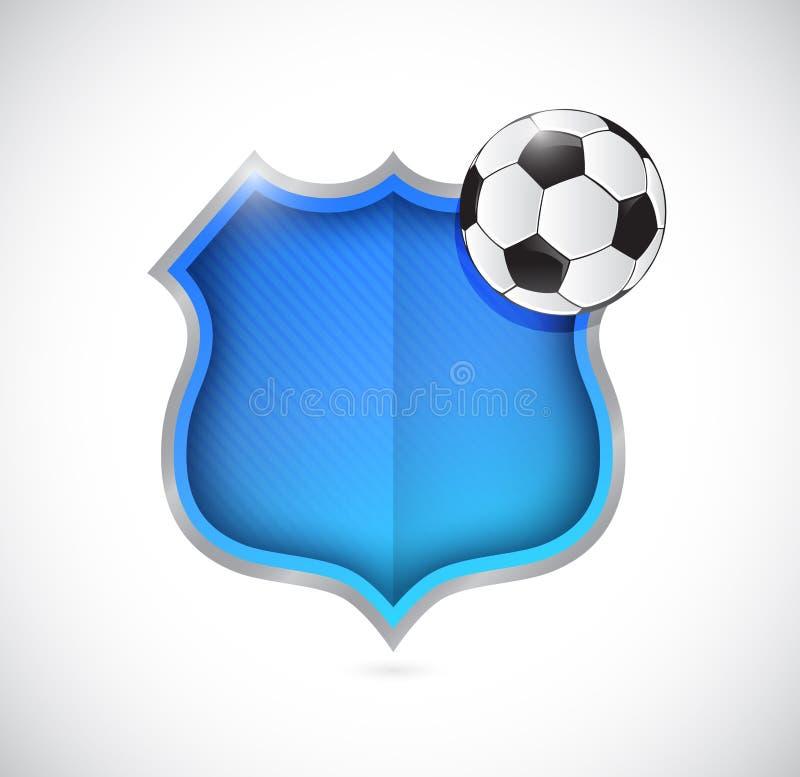 Conception d'illustration de bouclier d'équipe de ballon de football illustration stock