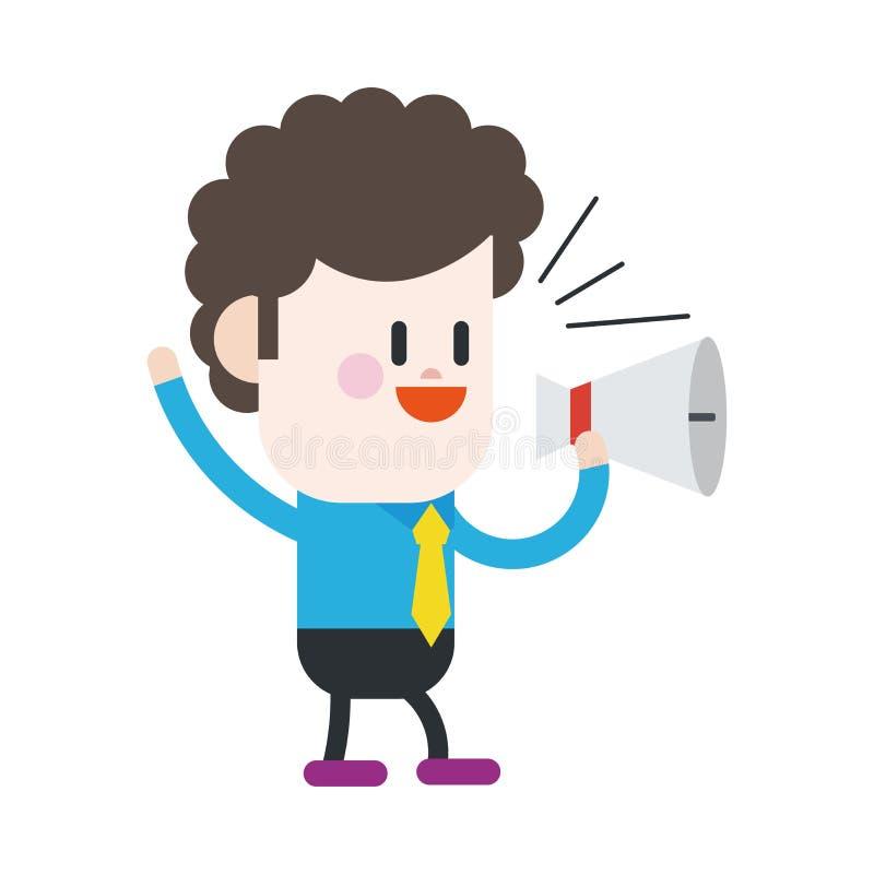Conception d'illustration de caractère Bande dessinée de haut-parleurs d'homme d'affaires, illustration libre de droits