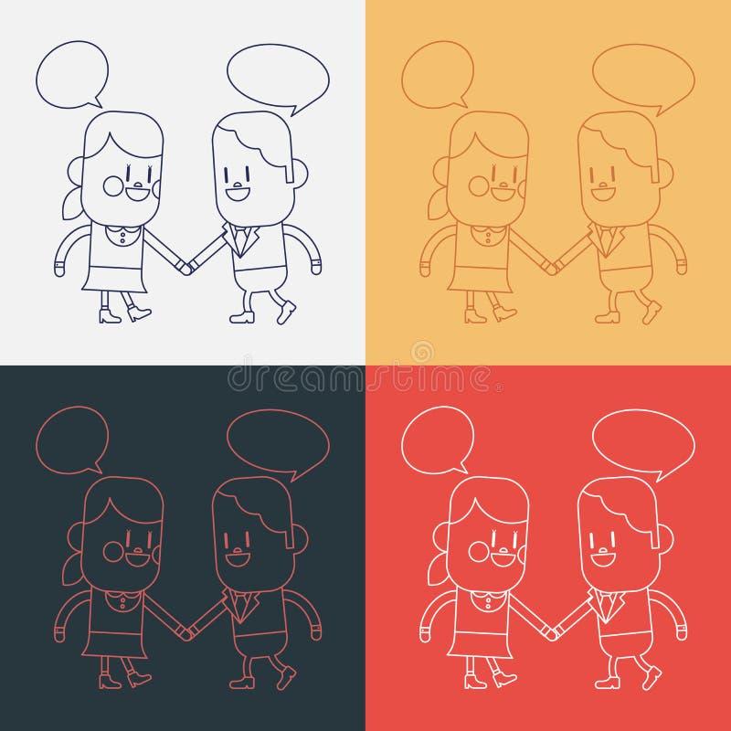 Conception d'illustration de caractère Bande dessinée parlante de fille et de garçon, ENV illustration de vecteur