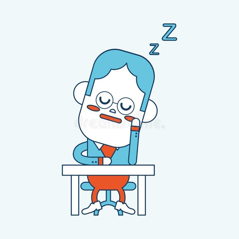 Conception d'illustration de caractère Bande dessinée somnolante d'homme d'affaires, ENV illustration de vecteur