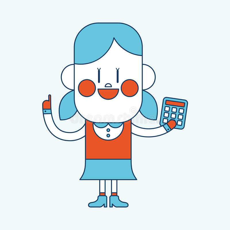 Conception d'illustration de caractère Fille employant la bande dessinée de calculatrice, ENV illustration libre de droits