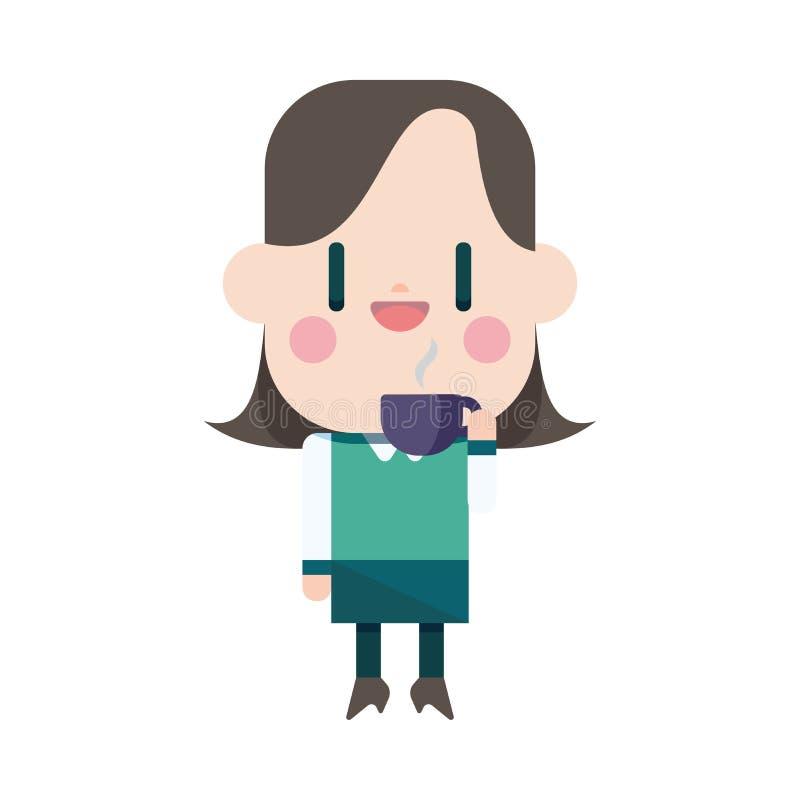 Conception d'illustration de caractère Voiture potable de café de femme d'affaires illustration de vecteur