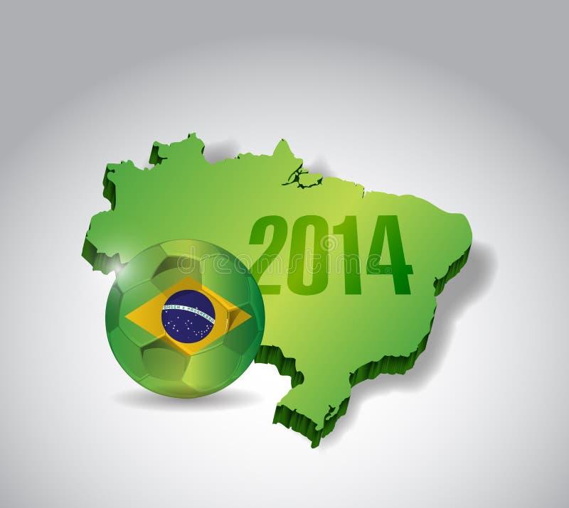Conception d'illustration de carte et de ballon de football du Brésil illustration libre de droits