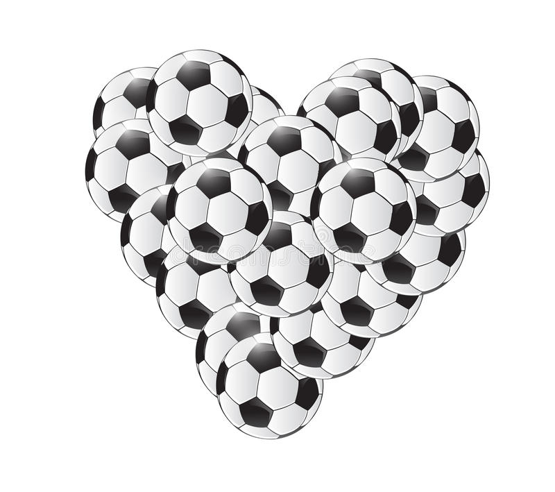Conception d'illustration de coeur de ballons de football illustration stock