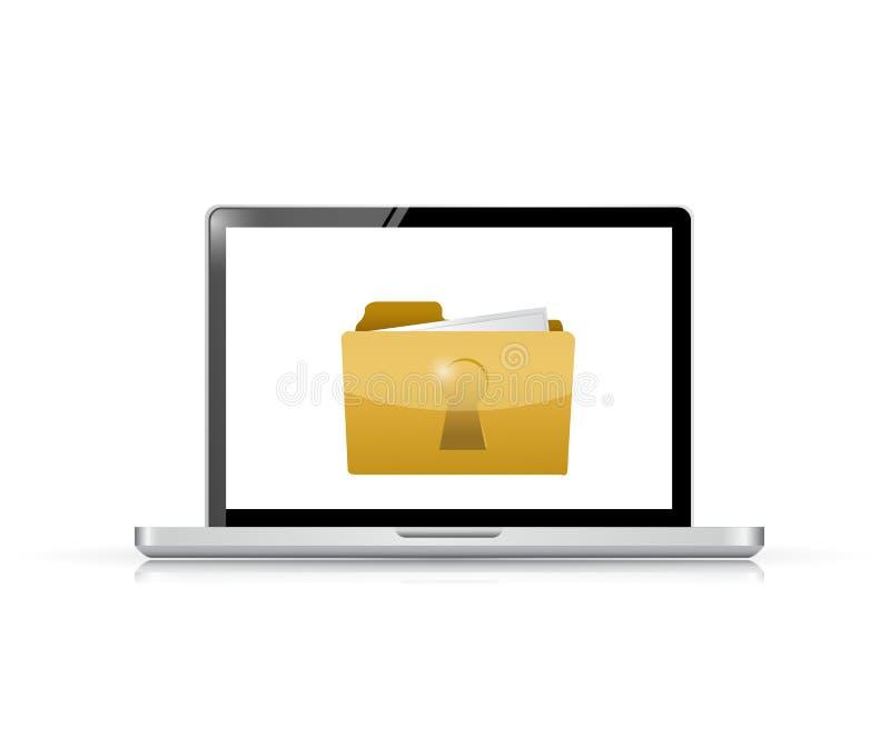 Conception d'illustration de degré de sécurité d'ordinateur portable et de dossier illustration stock