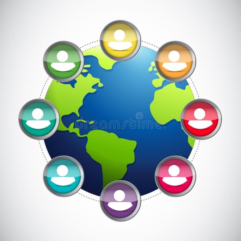 conception d'illustration de globe de diversité de personnes illustration stock