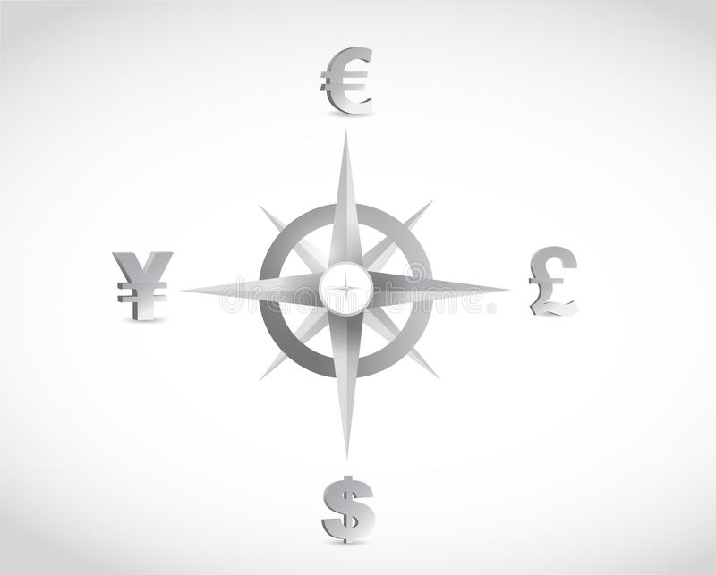 Conception d'illustration de guide de boussole de devise illustration libre de droits