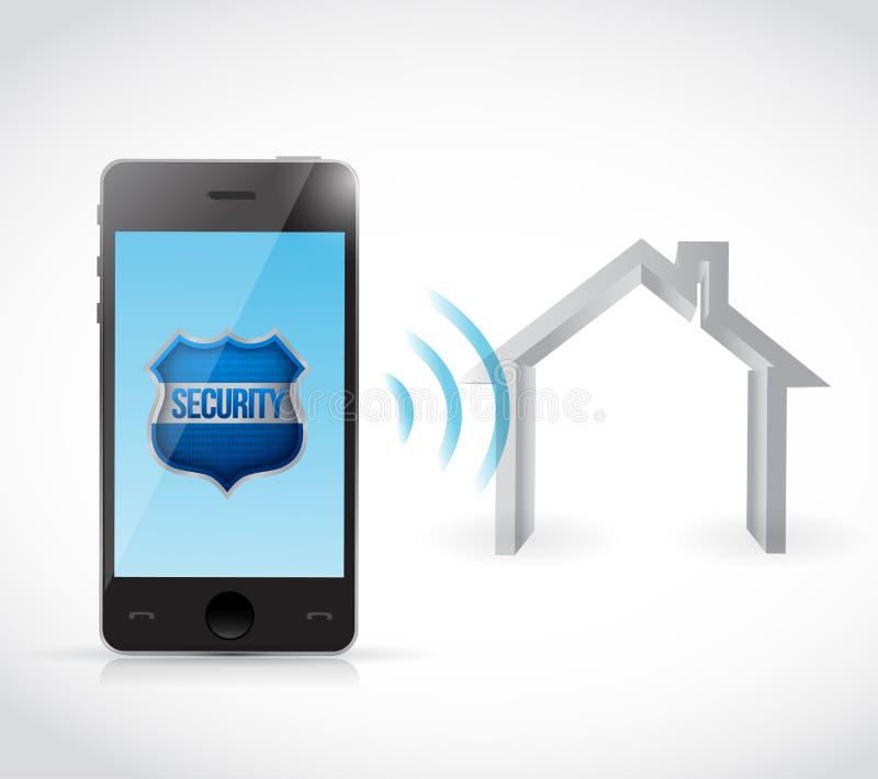 Conception d'illustration de logiciel de degré de sécurité à la maison de téléphone illustration libre de droits