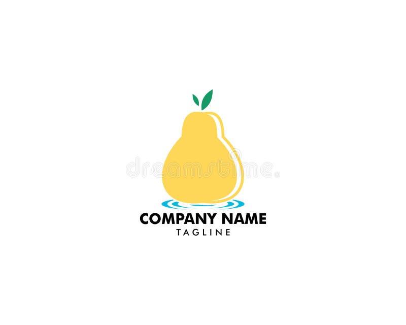 Conception d'illustration de logo de vecteur de nourriture de fruit de poire illustration stock