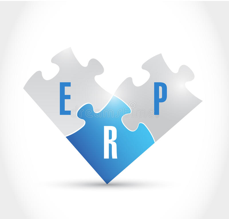Conception d'illustration de morceaux de puzzle d'ERP illustration stock
