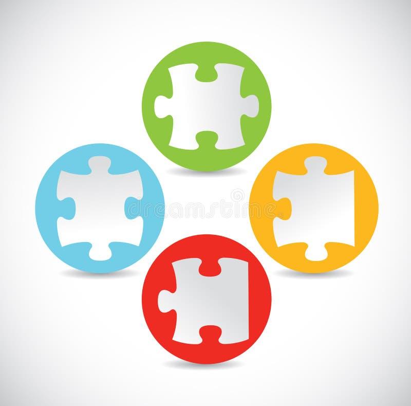 Conception d'illustration de morceaux de puzzles de couleur illustration libre de droits