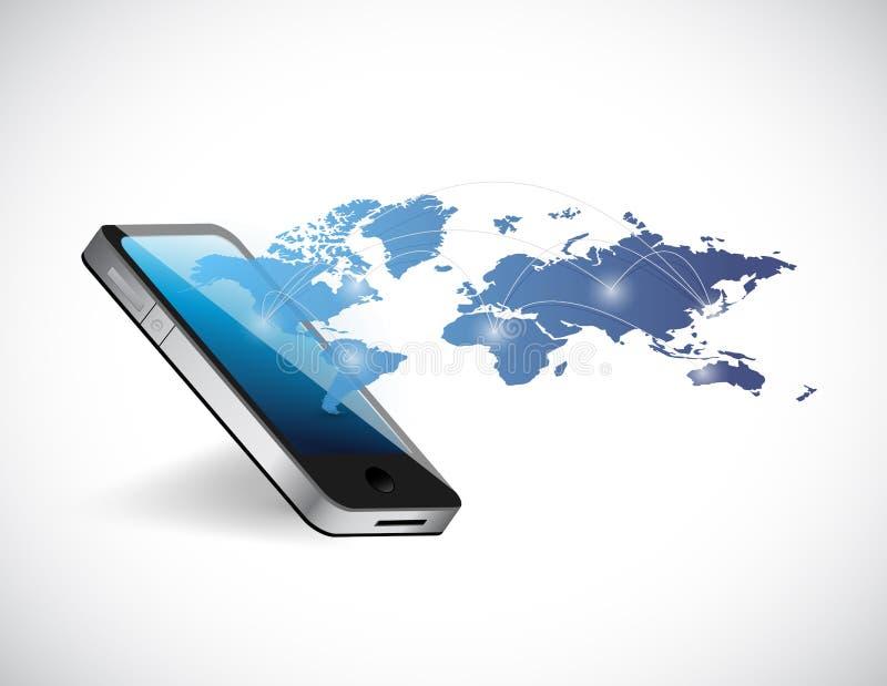 Conception d'illustration de réseau de carte du monde de téléphone illustration stock