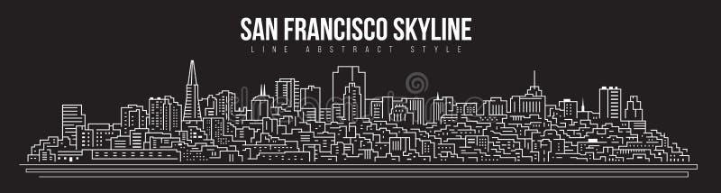 Conception d'illustration de schéma - ville panorama d'horizon de bâtiment de paysage urbain de San Francisco illustration libre de droits