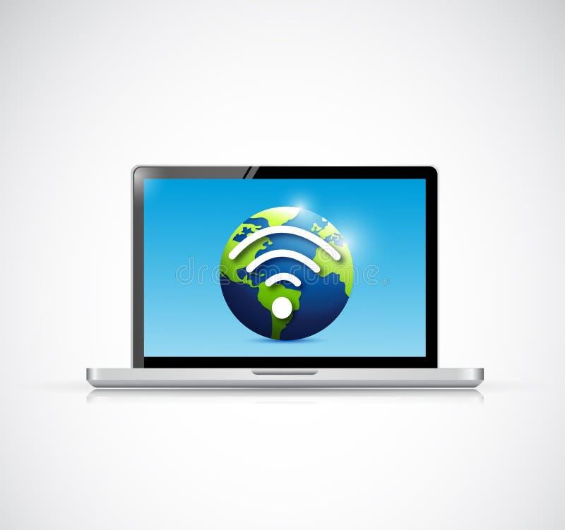 Conception d'illustration de signal de wifi d'ordinateur portable et de globe illustration de vecteur